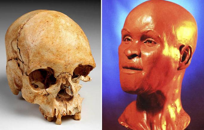 O crânio do fóssil Luzia e a imagem de sua face reconstituída - Associated Press