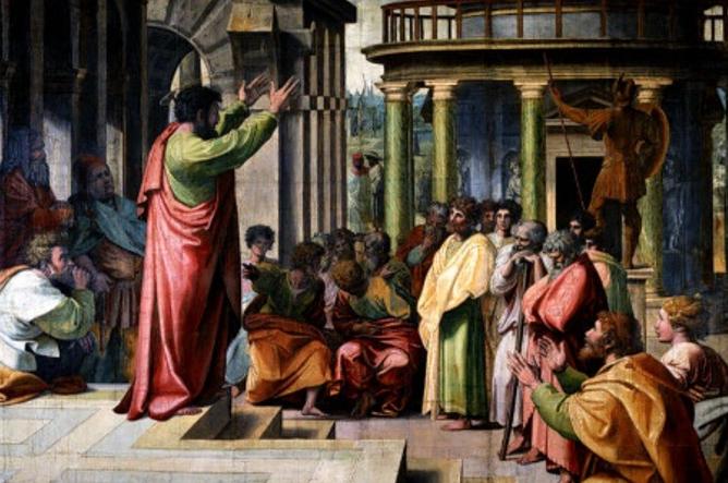 Apesar de suas atividades missionárias junto aos pagãos (não judeus), Paulo continuou a ver Jerusalém e a história de Israel como centrais para a fé em Jesus; na imagem, o apóstolo Paulo pregando / Reprodução
